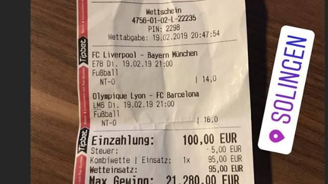 Champions League: Fußball-Fan tippt Bayern und Barcelona richtig und kassiert ab , Ein Solinger Fußball-Fan kassiert mit seinem Tipp richtig ab