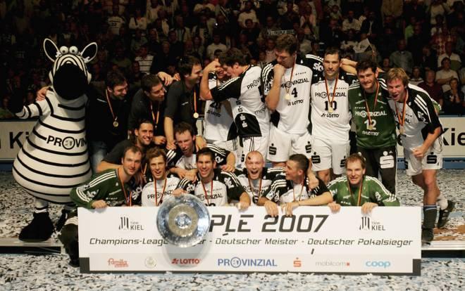 Mit Spielern wie Thierry Omeyer, Henning Fritz, Nikola Karabatic und Co. gewann der THW Kiel 2007 das Triple