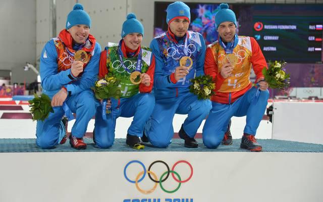 Die russischen Biathleten um Evgeny Ustyugov gewannen 2014 in Sotschi im Team Olympia-Gold