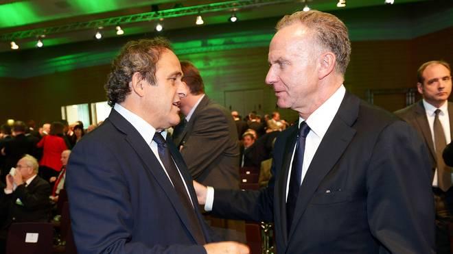 Gute Zusammenarbeit: UEFA-Chef Platini (l.) und ECA-Boss Rummenigge