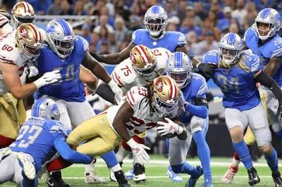 NFL-Rookie Amon-Ra St. Brown feiert sein NFL-Debüt für die Detroit Lions. Doch am Ende jubeln die San Francisco 49ers.