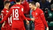 MUNICH, GERMANY - DECEMBER 14: Robert Lewandowski of FC Bayern Muenchen celebrates scoring his sides second goal during the Bundesliga match between FC Bayern Muenchen and SV Werder Bremen at Allianz Arena on December 14, 2019 in Munich, Germany. (Photo by Alexander Hassenstein/Bongarts/Getty Images)
