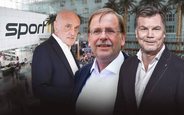 Rainer Koch (M.) und Martin Kind (l.) sind zu Gast im CHECK24 Doppelpass
