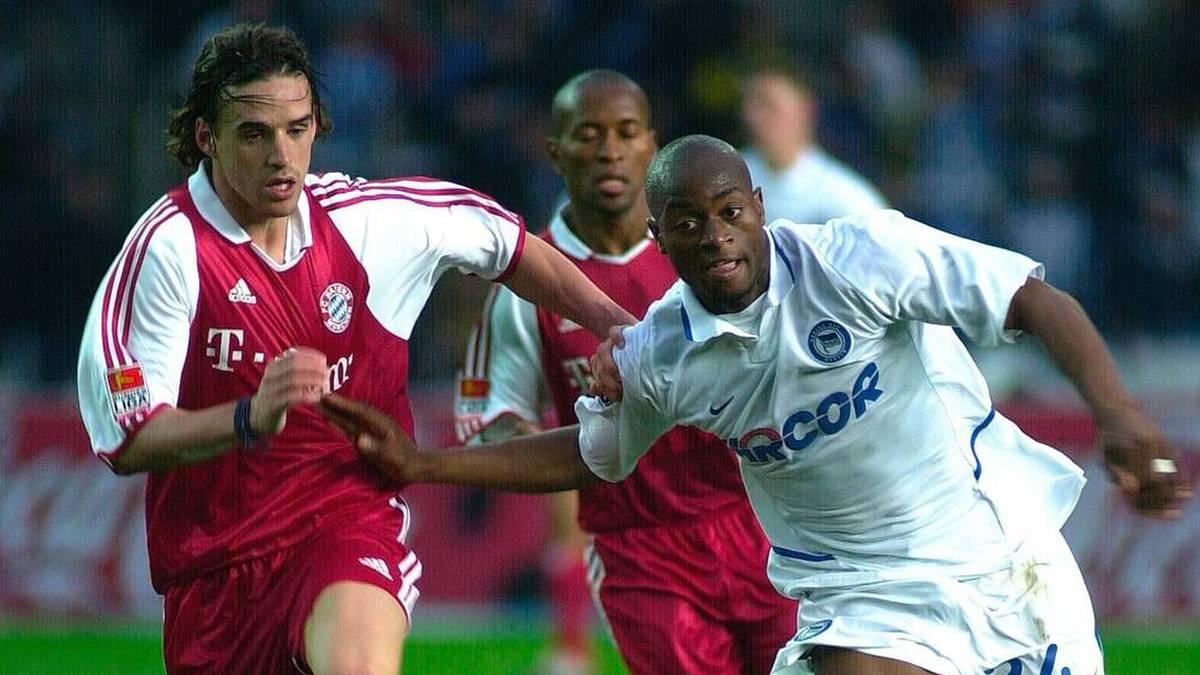 Nando Rafael (ehemals Hertha, r.) im Duell mit dem damaligen Bayern-Spieler Owen Hargreaves (Bayern)