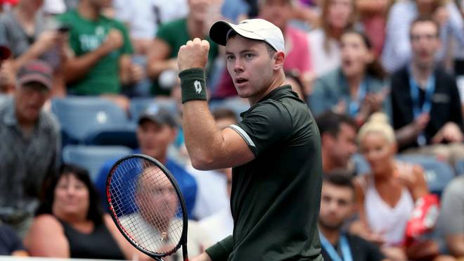 NEW YORK, NEW YORK - SEPTEMBER 01: Dominik Koepfer of Germany reacts to set point during his Men's Singles fourth round match against Daniil Medvedev of Russia on day seven of the 2019 US Open at the USTA Billie Jean King National Tennis Center on September 01, 2019 in Queens borough of New York City. (Photo by Mike Stobe/Getty Images)