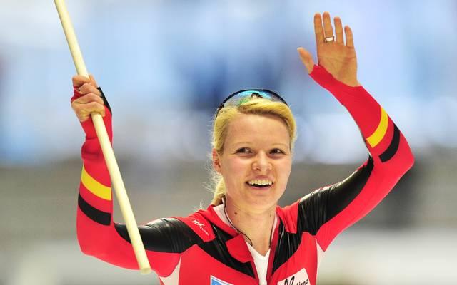 Germany's Stephanie Beckert celebrates w