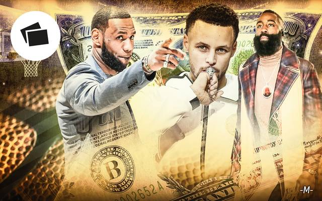 LeBron James (l.), Steph Curry (m.) und James Harden zählen zu den Topverdienern in der NBA