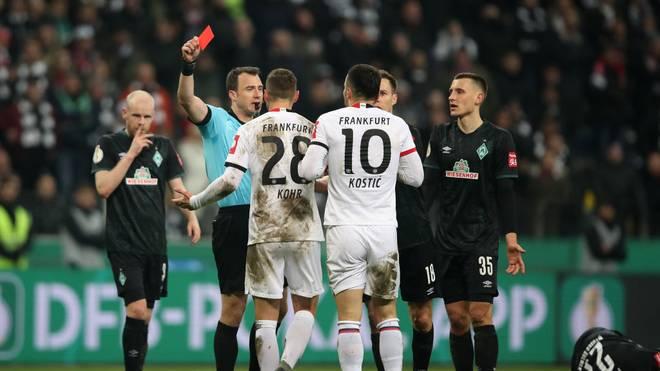 Filip Kostic wurde im DFB-Pokalspiel von Eintracht Frankfurt gegen Werder Bremen vom Platz gestellt