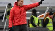 Leipzig's German headcoach Julian Nagelsmann gestures during the German first division Bundesliga football match Fortuna Dusseldorf v RB Leipzig in Duesseldorf on December 14, 2019. (Photo by INA FASSBENDER / AFP) / DFL REGULATIONS PROHIBIT ANY USE OF PHOTOGRAPHS AS IMAGE SEQUENCES AND/OR QUASI-VIDEO (Photo by INA FASSBENDER/AFP via Getty Images)