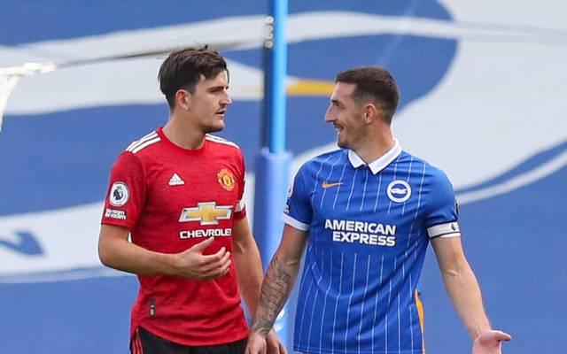 Schnelles Wiedersehen für Uniteds Harry Maguire (li.) und Brightons Neal Maupay