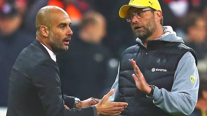 Jürgen Klopp (r.) und Pep Guardiola haben sich in der Bundesliga einige heiße Duelle geliefert