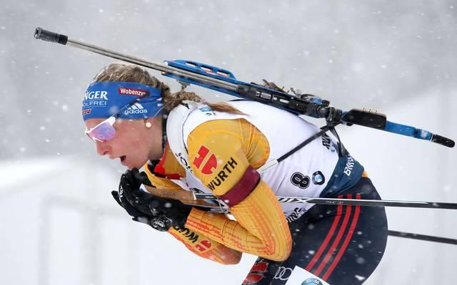 Vanessa Hinz hat es mit der deutschen Mixed-Staffel auf das Podium geschafft