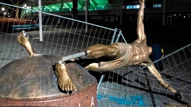 Die Statue von Zlatan Ibrahimovic wurde mehrfach Opfer von Vandalismus