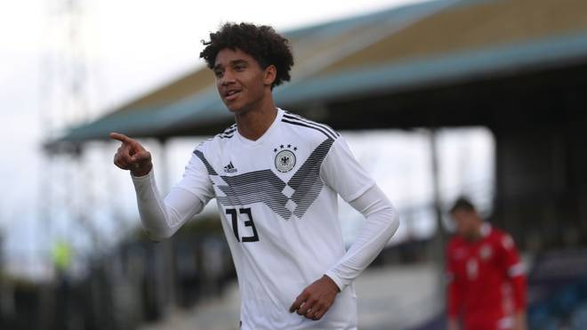 GREENOCK, SCOTLAND - OCTOBER 12: Kevin Schade of Germany celebrates scoring his team's third goal and completes his hat trick during the UEFA Under 19 European qualifier match between Belarus and Germany at Cappielow Park on October 12, 2019 in Greenock, Scotland. (Photo by Ian MacNicol/Getty Images for DFB)