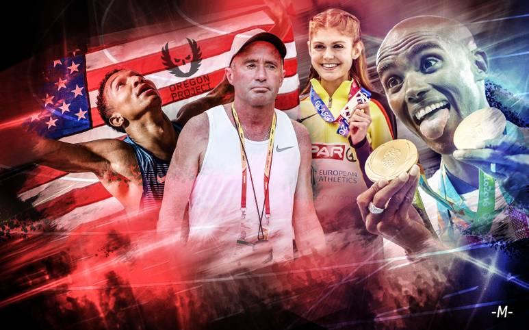 Alberto Salazar (2.v.l.) wurde am Dienstag für vier Jahre gesperrt. Dem Chef des Nike Oregon Projects wird vorgeworfen, seine Athleten mit unerlaubten Hilfsmitteln trainiert zu haben. Doch wer ist überhaupt Teil des NOP? SPORT1 stellt die Athleten und ihre Erfolge vor