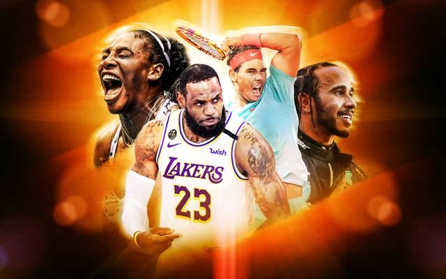 Serena Williams, LeBron James, Rafael Nadal und Lewis Hamilton (v.l.) prägten den Sport in den vergangenen Jahren