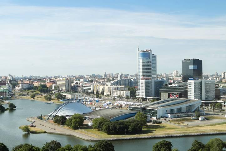 Das Stadtbild der weißrussischen Metropole Minsk rückt für die Zeit vom 21. bis 30. Juni stattfindenden Europaspiele in den Hintergrund