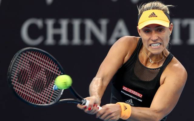 BEIJING, CHINA - OCTOBER 01:  Angelique Kerber of Germany in action against Polona Hercog of Slovenia during the Women's Singles 2nd Round of 2019 China Open at the China National Tennis Center on October 1, 2019 in Beijing, China.  (Photo by Lintao Zhang/Getty Images)