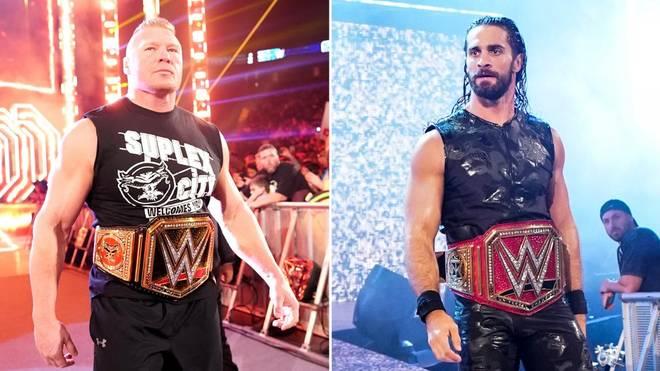 Brock Lesnar (l.) landete beim WWE Draft 2019 bei SmackDown, Seth Rollins bei RAW
