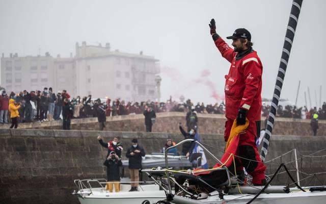 Boris Herrmann wurde bei seiner Ankunft im Hafen gefeiert