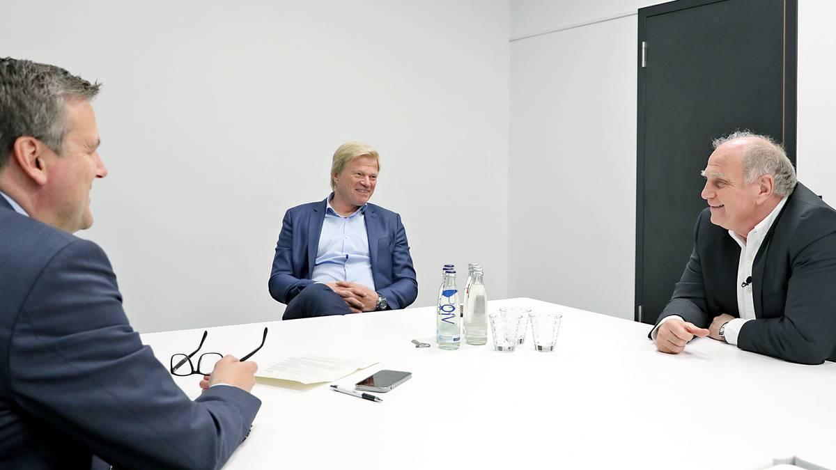 Uli Hoeneß (r.) und Oliver Kahn nahmen Stellung zu den großen Themen beim FC Bayern
