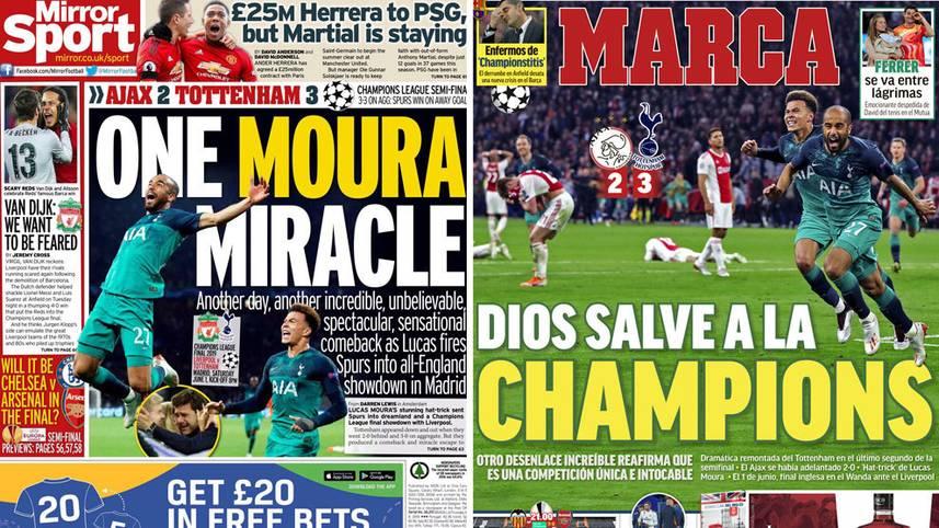 Nach dem irren Fußball-Wunder des FC Liverpool gegen den FC Barcelona sorgen die Tottenham Hotspur für das nächste Drama, werfen Ajax Amsterdam nach einer furiosen Aufholjagd noch aus der Königklasse.SPORT1hat die internationalen Pressestimmen