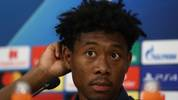 PIRAEUS, GREECE - OCTOBER 21: David Alaba of FC Bayern Muenchen talks to the media during a press conference at Karaiskakis Stadium on October 21, 2019 in Piraeus, Greece. FC Bayern Muenchen will face Olympiacos FC during the UEFA Champions League group B match on October 22, 2019. (Photo by Alexander Hassenstein/Bongarts/Getty Images)