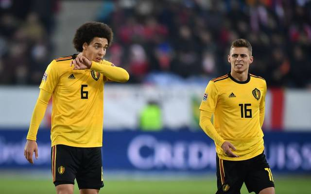Belgium's midfielder Axel Witsel (L) and teammate forward Thorgan Hazard reacts during the UEFA Nations League, league A, group 2 football match between Switzerland and Belgium at the Swissporarena stadium in Lucerne, on November 18, 2018. (Photo by Fabrice COFFRINI / AFP)        (Photo credit should read FABRICE COFFRINI/AFP/Getty Images)