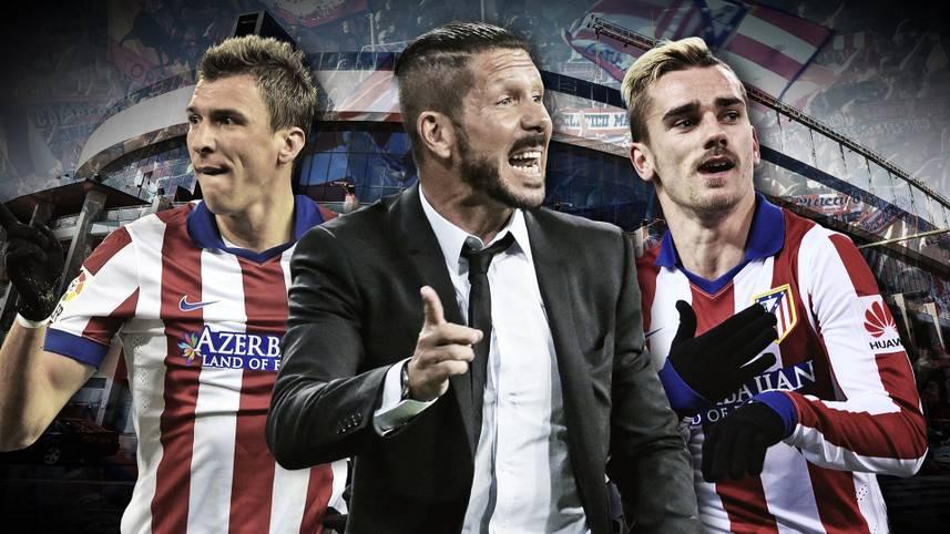 Diego Simeone (M.) baut bei Atletico Madrid weiter erfolgreiche Mannschaften, diesmal mit Mario Mandzukic (l.) und Antoine Griezmann. SPORT1 stellt Bayer Leverkusens Gegner in der Champions League vor