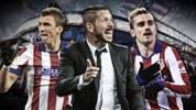 Mario Mandzukic, Diego Simeone und Antoine Griezmann von Atletico Madrid