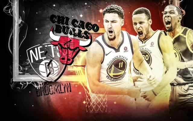 Die Golden State Warriors überrollen dank ihrer Mega-Scorer Klay Thompson, Stephen Curry und Kevin Durant (v.l.) die NBA