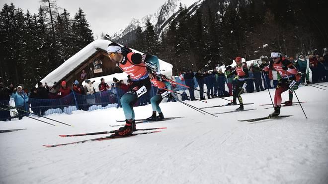 Martin Fourcade (l.) geht bei den Weltcups in Kanada und den USA nicht an den Start, um Kräfte für die Biathlon-WM zu sparen