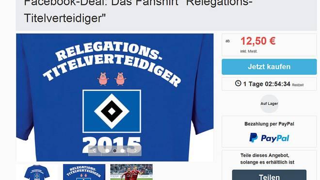 """Das """"Relegations-Titelverteidiger""""-T-Shirt des Hamburger SV"""