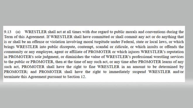Die Moralklausel von WWE im Wortlaut - der Standardentwurf ist bei der US-Börsenaufsicht SEC einsehbar
