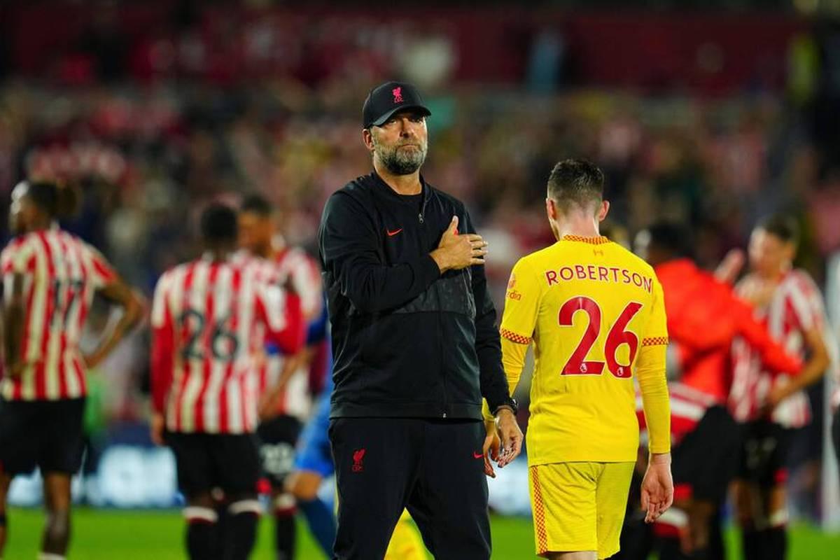 Der FC Liverpool spielt am 6. Spieltag der Premier League nur Unentschieden beim FC Brentford. Die Reds wackeln vor allem in der Defensive.