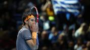 LONDON, ENGLAND - NOVEMBER 17:   Dominic Thiem of Austria looks dejected after a missed chance in his match against Stefanos Tsitsipas of Greece in the final during Day Eight of the Nitto ATP World Tour Finals at The O2 Arena on November 17, 2019 in London, England. (Photo by Julian Finney/Getty Images)