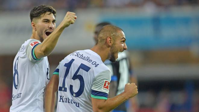 PADERBORN, GERMANY - SEPTEMBER 15: Suat Serdar (L) and Ahmed Kutucu of Schalke celebrate during the Bundesliga match between SC Paderborn 07 and FC Schalke 04 at Benteler Arena on September 15, 2019 in Paderborn, Germany. (Photo by Thomas F. Starke/Bongarts/Getty Images)