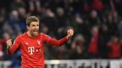 Bayern Munich's German forward Thomas Mueller celebrates scoring during the UEFA Champions League Group B football match between Bayern Munich and Tottenham FC on December 11, 2019 in Munich, Germany. (Photo by Christof STACHE / AFP) (Photo by CHRISTOF STACHE/AFP via Getty Images)