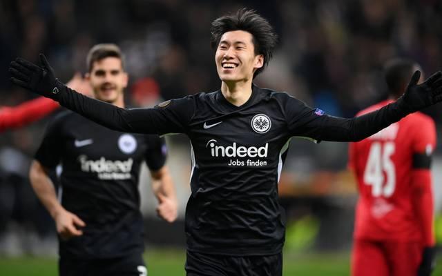 Daichi Kamada erzielte drei Tore beim 4:1-Sieg im Hinspiel gegen Salzburg