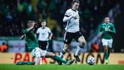 FRANKFURT AM MAIN, GERMANY - NOVEMBER 19: (EDITORS NOTE: Image has been digitally enhanced.) Lukas Klostermann of Germany is tackled by George Saville of Northern Ireland during the UEFA Euro 2020 Qualifier between Germany and Northern Ireland at Commerzbank Arena on November 19, 2019 in Frankfurt am Main, Germany. (Photo by Simon Hofmann/Bongarts/Getty Images)