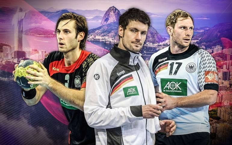 Der Deutsche Handball-Bund hat seinen finalen 14+1-Kader für die Olympischen Spiele in Rio de Janeiro benannt. Wer darf mit, wer nicht, und wer nur inoffiziell? Bundestrainer Dagur Sigurdsson überrascht nicht nur im Falle von Keeper Lichtlein (M.) und EM-Kapitän Weinhold (r.).
