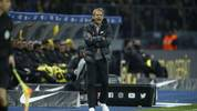 Hertha Berlin's German head coach Jurgen Klinsmann reacts on the pitch during the German first division Bundesliga football match Hertha Berlin v Borussia Dortmund in Berlin, Germany on November 30, 2019. (Photo by Odd ANDERSEN / AFP) / RESTRICTIONS: DFL REGULATIONS PROHIBIT ANY USE OF PHOTOGRAPHS AS IMAGE SEQUENCES AND/OR QUASI-VIDEO (Photo by ODD ANDERSEN/AFP via Getty Images)