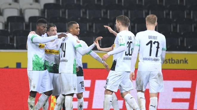 Die Spieler von Borussia Mönchengladbach wollen auch in Frankfurt jubeln