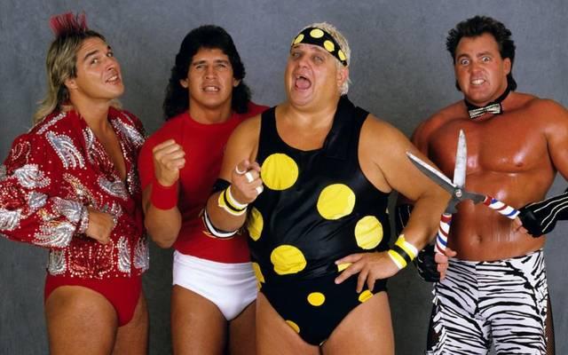 Dusty Rhodes (2.v.r.) mit den früheren WWE-Kollegen Terry Taylor, Tito Santana und Brutus Beefcake (v.l.)