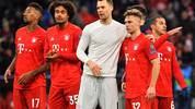 MUNICH, GERMANY - DECEMBER 11: Jerome Boateng, Joshua Zirkzee, goalkeeper Manuel Neuer and Joshua Kimmich of Bayern Muenchen celebrate after the UEFA Champions League group B match between Bayern Muenchen and Tottenham Hotspur at Allianz Arena on December 11, 2019 in Munich, Germany. (Photo by Sebastian Widmann/Bongarts/Getty Images)
