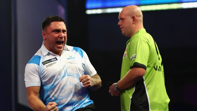 LONDON, ENGLAND - DECEMBER 27:  Gerwyn Price of Wales celebrates winning a leg during his third round match against Michael van Gerwen of the Netherlands on day eleven of the 2018 William Hill PDC World Darts Championships at Alexandra Palace on December 27, 2017 in London, England.  (Photo by Naomi Baker/Getty Images)