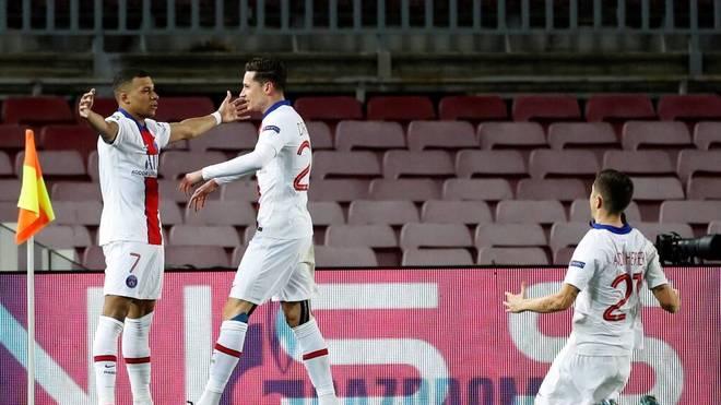 Kylian Mbappé traf im Hinspiel gegen Barcelona gleich dreifach