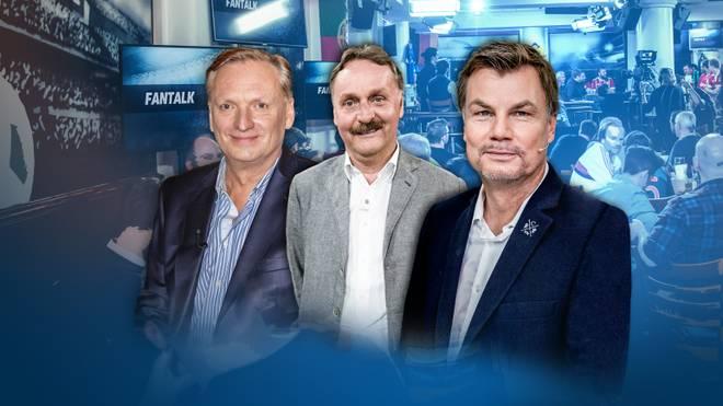 Thomas Helmer (r.) begrüßt am Mittwoch Rudi Brückner (l.) und Peter Neururer im Fantalk