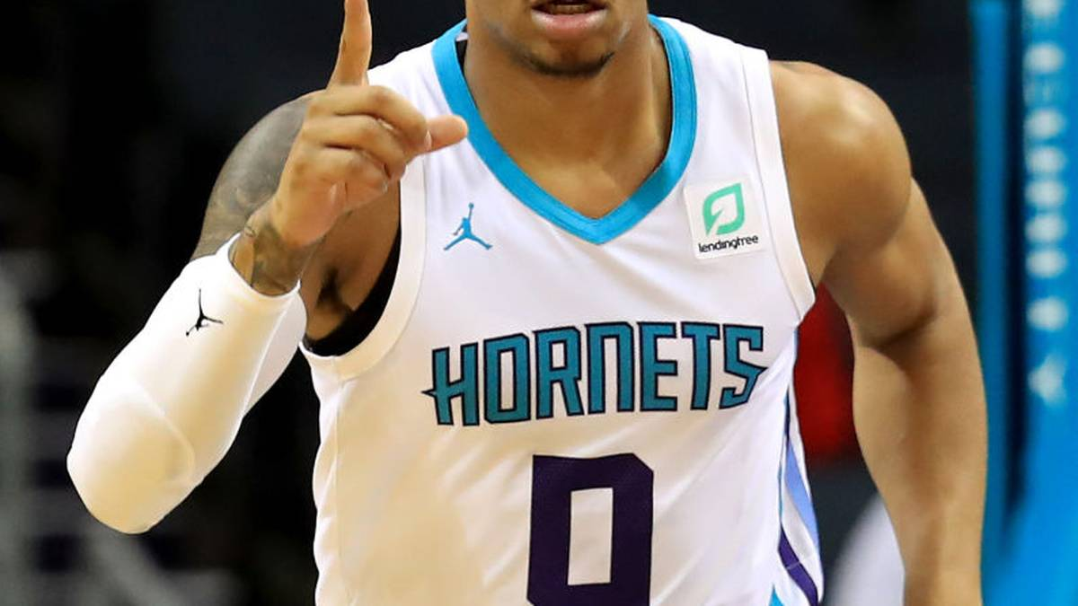 CHARLOTTE, NORTH CAROLINA - OCTOBER 16: Miles Bridges #0 of the Charlotte Hornets reacts after a play against the Detroit Pistons during their game at Spectrum Center on October 16, 2019 in Charlotte, North Carolina. NOTE TO USER: User expressly acknowledges and agrees that, by downloading and or using this photograph, User is consenting to the terms and conditions of the Getty Images License Agreement. (Photo by Streeter Lecka/Getty Images)