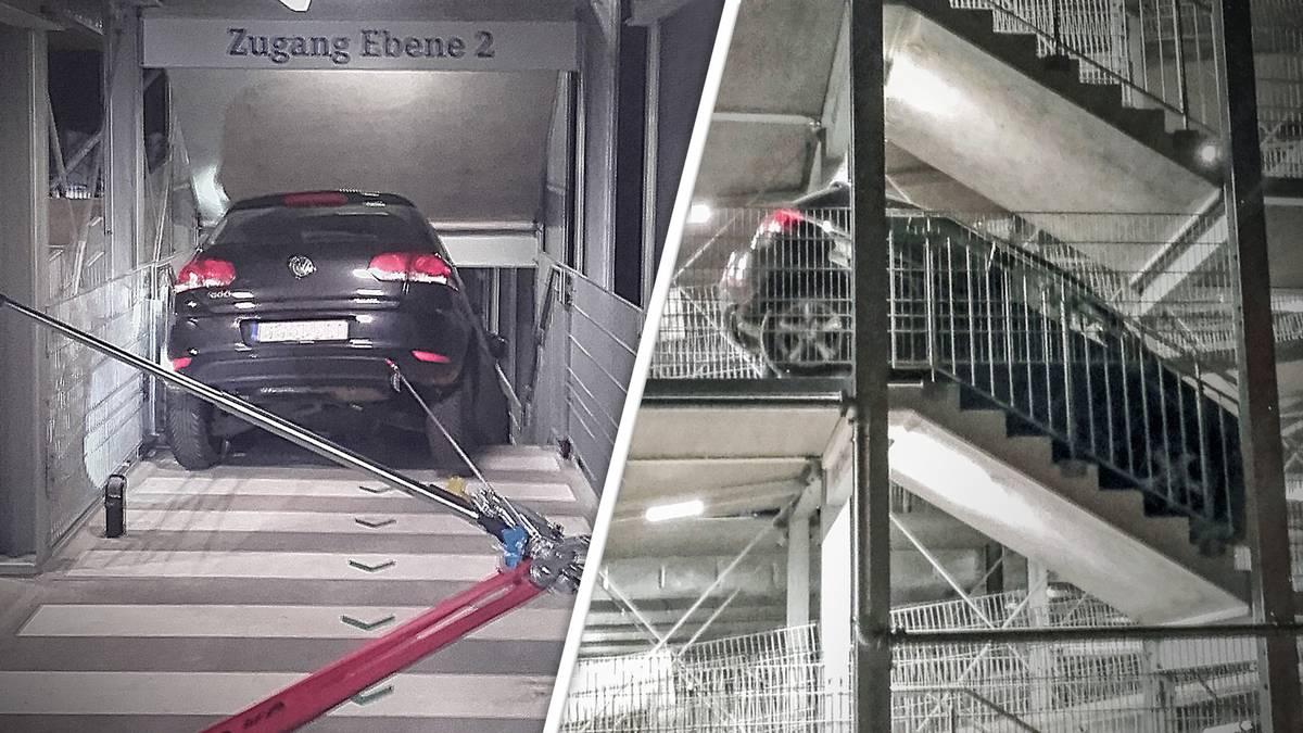 Die beiden Schalke-Fans steckten mit ihrem Fahrzeug fest